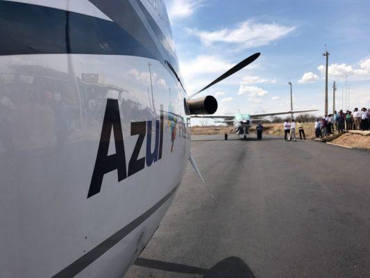 Aeronave da Azul em solo serra-talhadense: expectativa de operar ainda em 2017